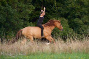 Reiterin ohne Sattel und Zaumzeug auf galoppierendem Pferd